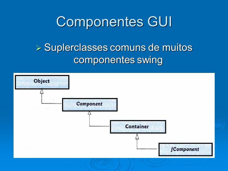 Componentes GUI Uma interface gráfica em Java é baseada em dois tipos de elementos: Uma interface gráfica em Java é baseada em dois tipos de elementos: containers: São componentes que servem para agrupar e exibir outros componentes, podem ser de alto nível ou intermediários.