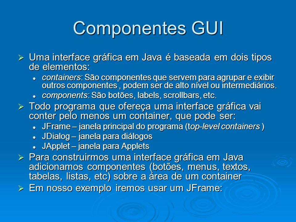 Componentes GUI Uma interface gráfica em Java é baseada em dois tipos de elementos: Uma interface gráfica em Java é baseada em dois tipos de elementos