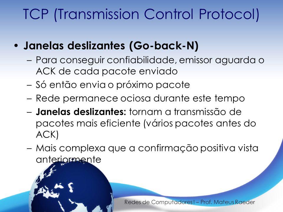 Redes de Computadores I – Prof. Mateus Raeder TCP (Transmission Control Protocol) Janelas deslizantes (Go-back-N) –Para conseguir confiabilidade, emis