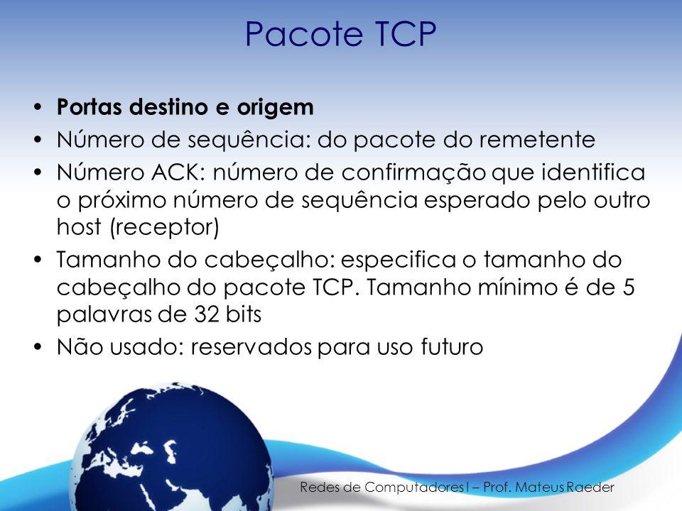 Redes de Computadores I – Prof. Mateus Raeder Pacote TCP Portas destino e origem Número de sequência: do pacote do remetente Número ACK: número de con