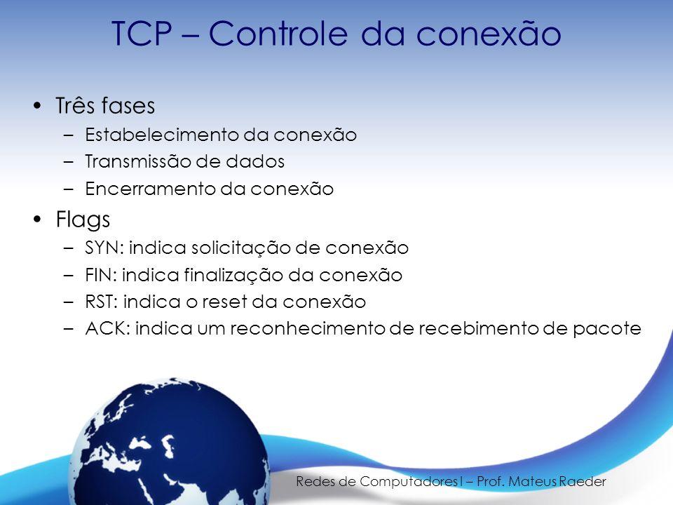 Redes de Computadores I – Prof. Mateus Raeder TCP – Controle da conexão Três fases –Estabelecimento da conexão –Transmissão de dados –Encerramento da