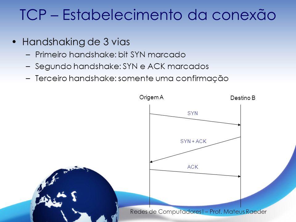 Redes de Computadores I – Prof. Mateus Raeder TCP – Estabelecimento da conexão Origem A Destino B SYN SYN + ACK ACK Handshaking de 3 vias –Primeiro ha