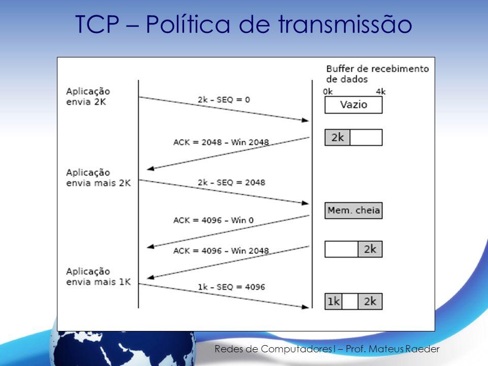 Redes de Computadores I – Prof. Mateus Raeder TCP – Política de transmissão