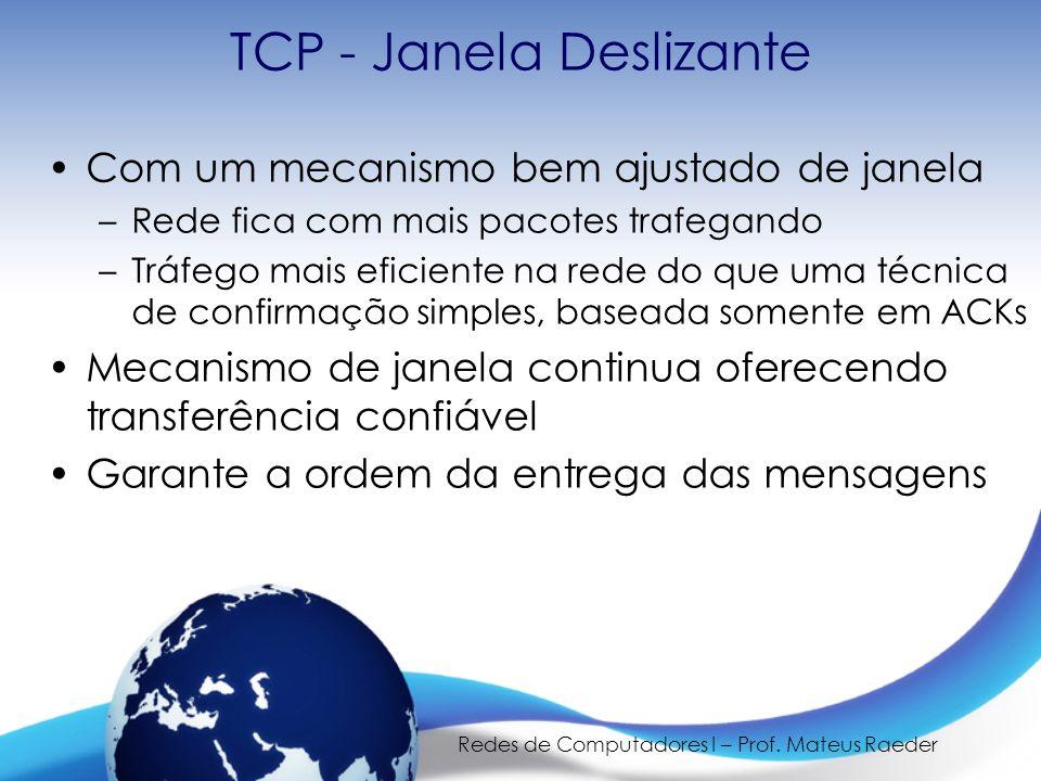 Redes de Computadores I – Prof. Mateus Raeder TCP - Janela Deslizante Com um mecanismo bem ajustado de janela –Rede fica com mais pacotes trafegando –