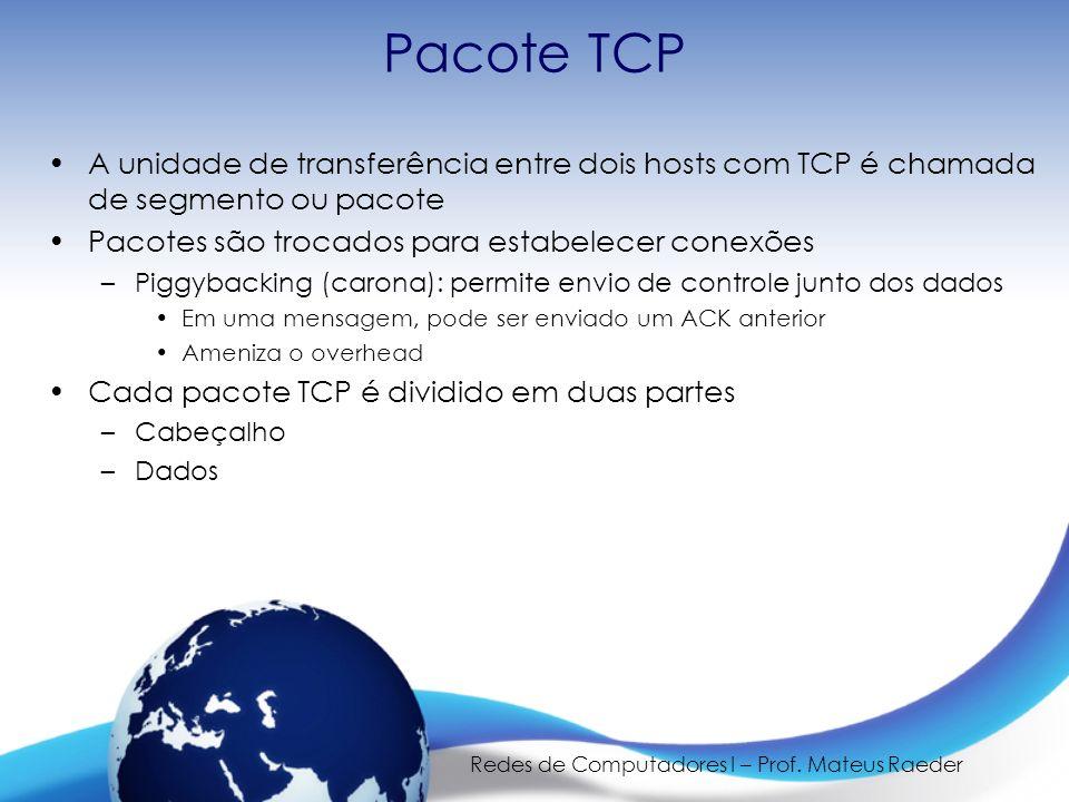Redes de Computadores I – Prof. Mateus Raeder Pacote TCP A unidade de transferência entre dois hosts com TCP é chamada de segmento ou pacote Pacotes s