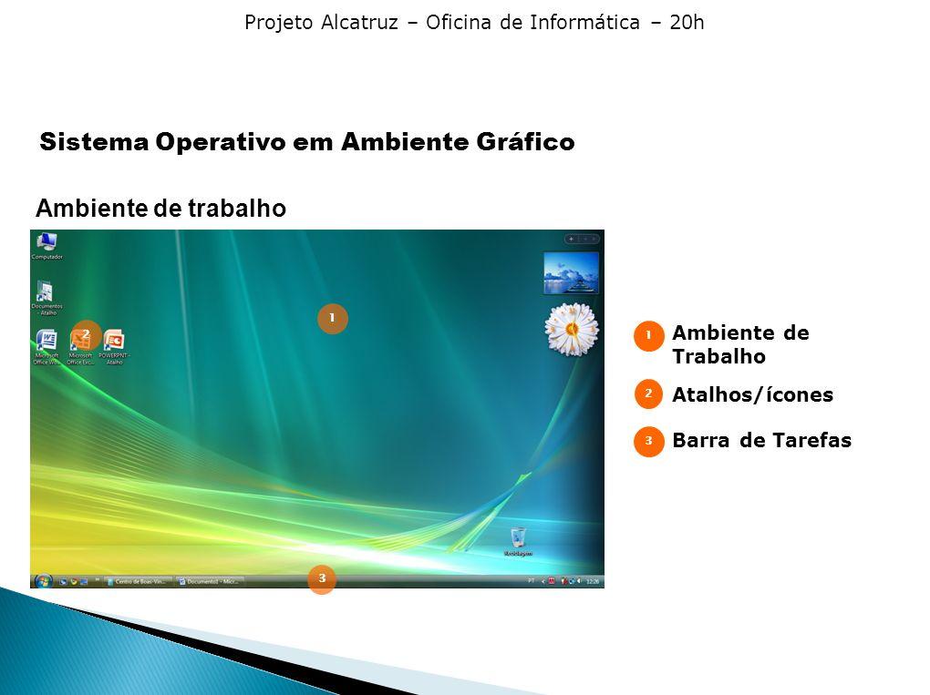 Projeto Alcatruz – Oficina de Informática – 20h Ambiente de trabalho Ambiente de Trabalho Atalhos/ícones Barra de Tarefas 1 2 3 1 2 3 Sistema Operativo em Ambiente Gráfico