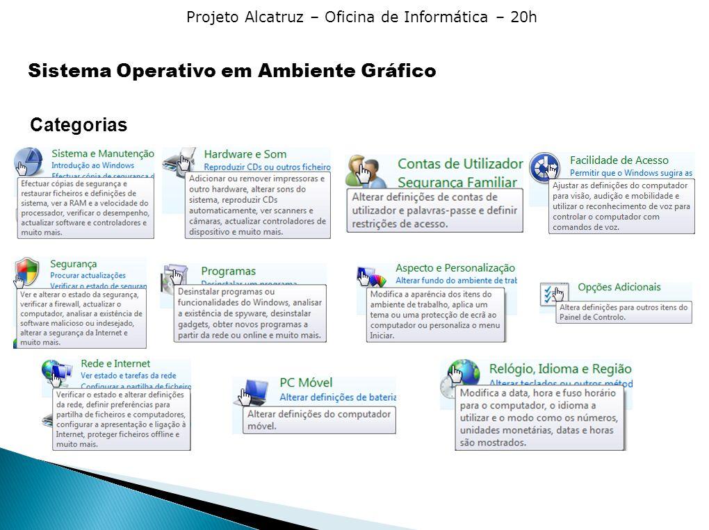 Projeto Alcatruz – Oficina de Informática – 20h Sistema Operativo em Ambiente Gráfico Categorias