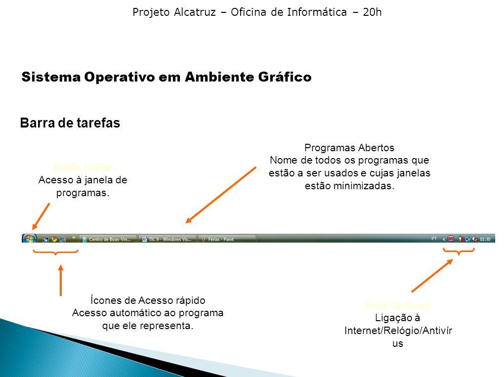 Projeto Alcatruz – Oficina de Informática – 20h Barra de tarefas Botão Iniciar Acesso à janela de programas. Ícones de Acesso rápido Acesso automático