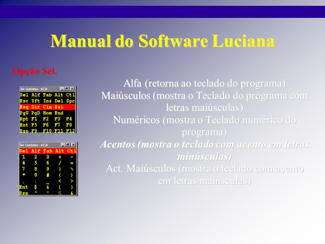 Manual do Software Luciana Alfa (retorna ao teclado do programa) Maiúsculos (mostra o Teclado do programa com letras maiúsculas) Numéricos (mostra o T