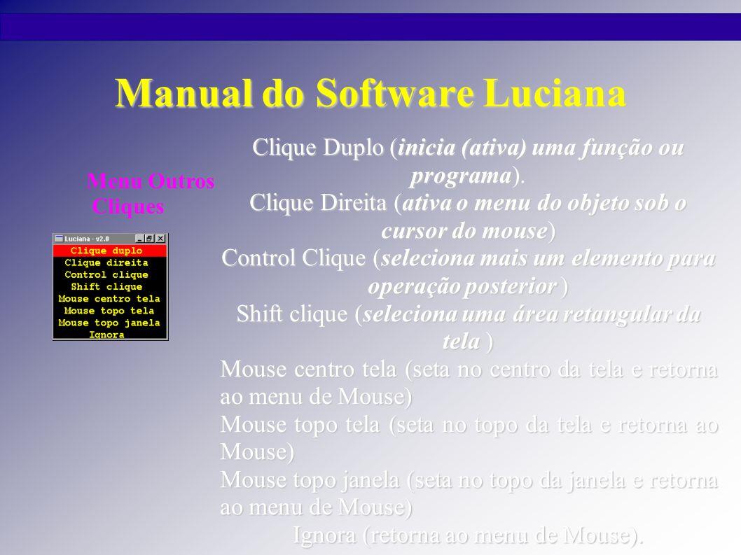 Manual do Software Luciana Clique Duplo (inicia (ativa) uma função ou programa). Clique Direita (ativa o menu do objeto sob o cursor do mouse) Control
