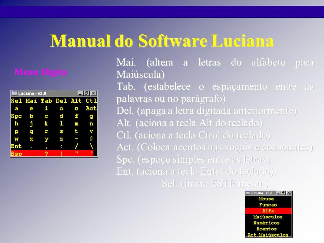 Manual do Software Luciana Mai. (altera a letras do alfabeto para Maiúscula) Tab. (estabelece o espaçamento entre as palavras ou no parágrafo) Del. (a