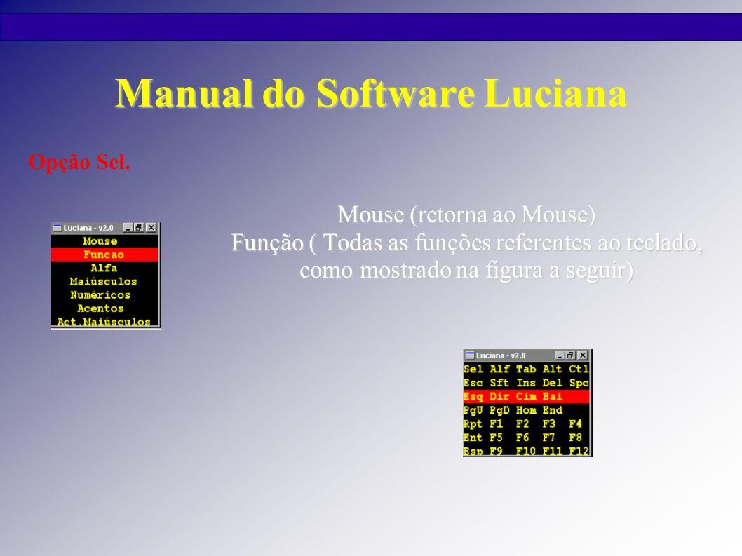 Manual do Software Luciana Alfa (retorna ao teclado do programa) Maiúsculos (mostra o Teclado do programa com letras maiúsculas) Numéricos (mostra o Teclado numérico do programa) Acentos (mostra o teclado com acento em letras minúsculas) Act.