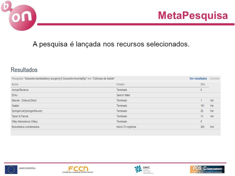 MetaPesquisa A pesquisa é lançada nos recursos selecionados.