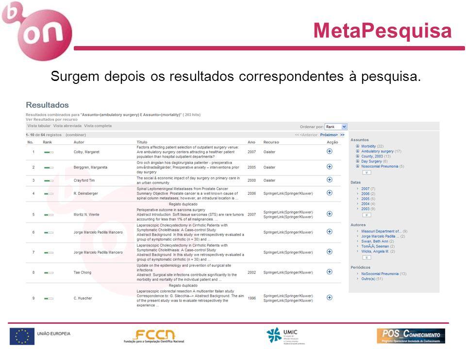 MetaPesquisa Surgem depois os resultados correspondentes à pesquisa.