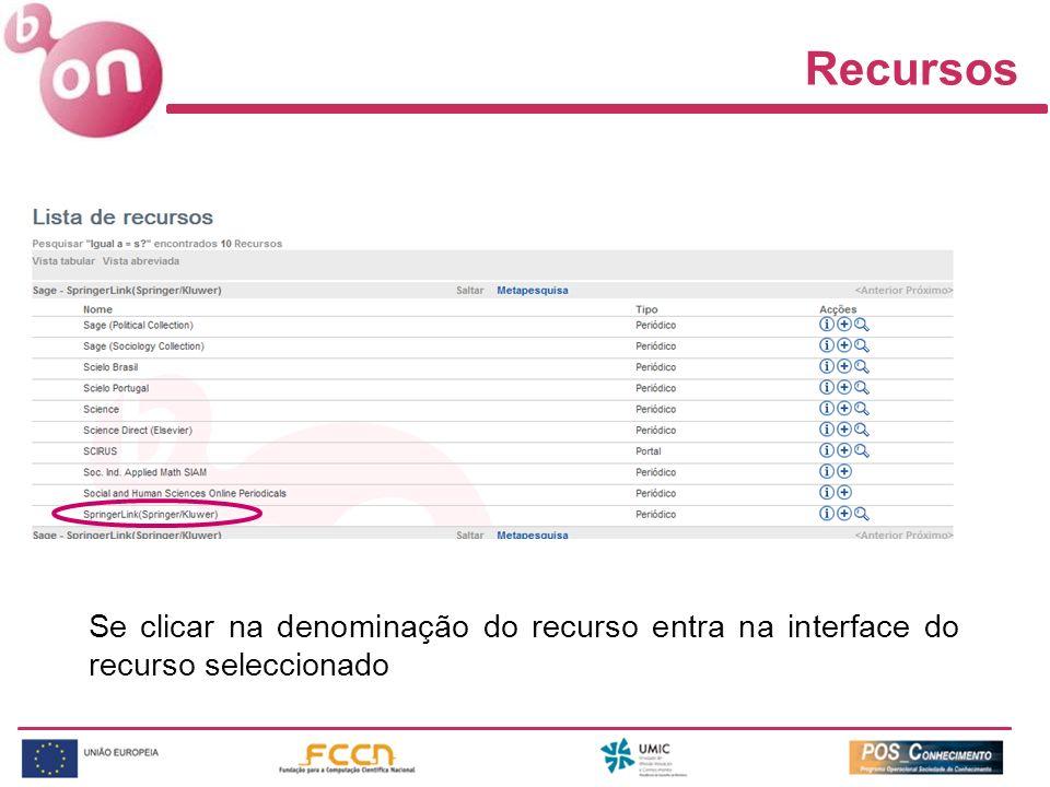 Recursos Se clicar na denominação do recurso entra na interface do recurso seleccionado
