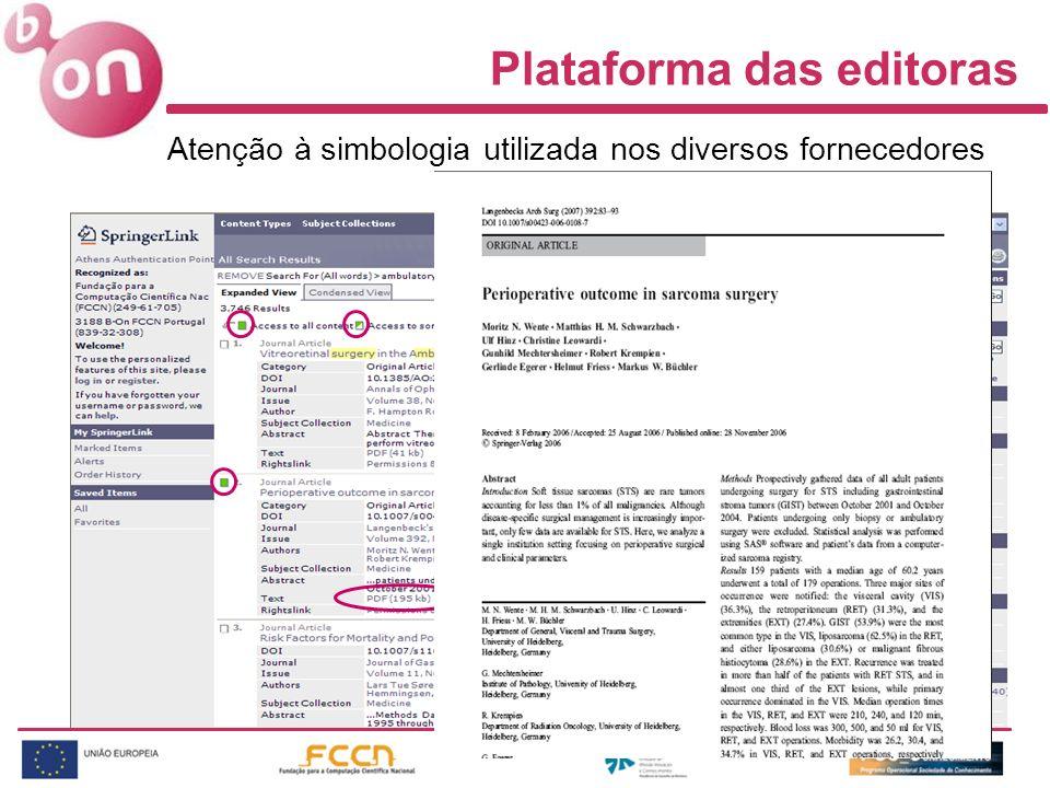 Atenção à simbologia utilizada nos diversos fornecedores Plataforma das editoras