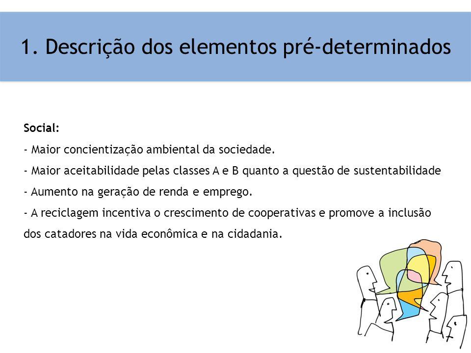 1. Descrição dos elementos pré-determinados Social: - Maior concientização ambiental da sociedade. - Maior aceitabilidade pelas classes A e B quanto a