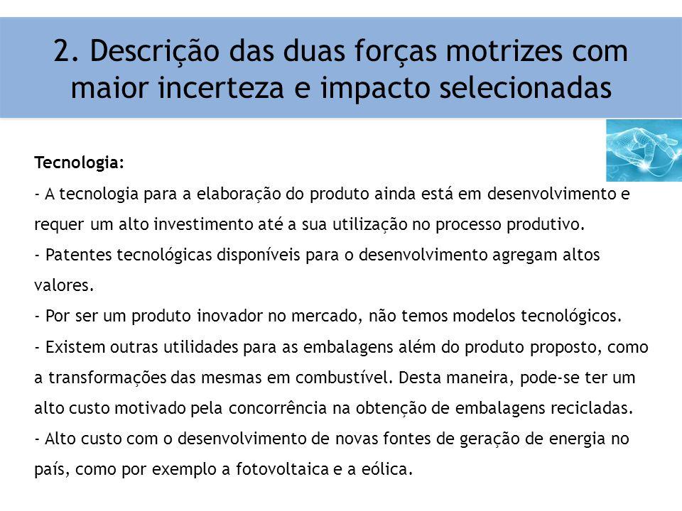 2. Descrição das duas forças motrizes com maior incerteza e impacto selecionadas Tecnologia: - A tecnologia para a elaboração do produto ainda está em