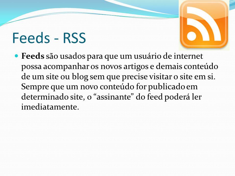 Feeds - RSS Feeds são usados para que um usuário de internet possa acompanhar os novos artigos e demais conteúdo de um site ou blog sem que precise vi