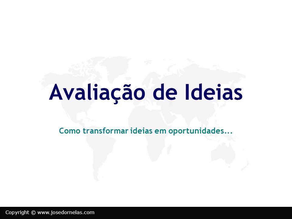Copyright © www.josedornelas.com Avaliação de Ideias Como transformar ideias em oportunidades...