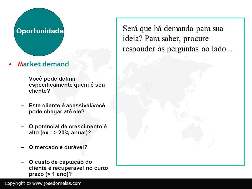 Copyright © www.josedornelas.com Market demand –Você pode definir especificamente quem é seu cliente? –Este cliente é acessível/você pode chegar até e