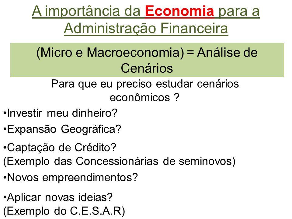 (Micro e Macroeconomia) = Análise de Cenários A importância da Economia para a Administração Financeira Para que eu preciso estudar cenários econômicos .