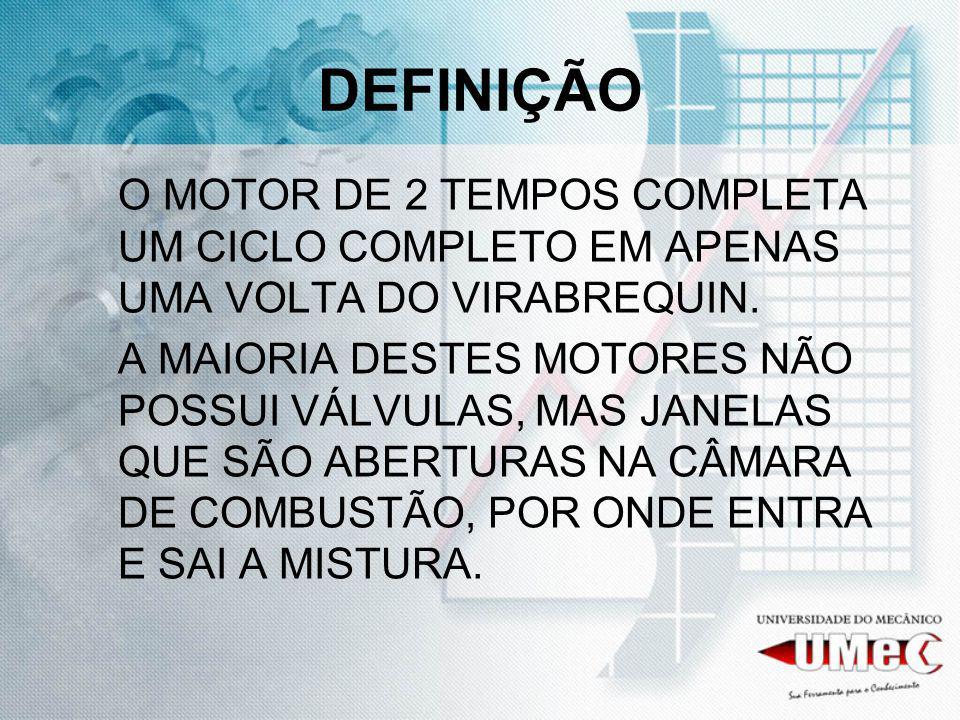 DEFINIÇÃO O MOTOR DE 2 TEMPOS COMPLETA UM CICLO COMPLETO EM APENAS UMA VOLTA DO VIRABREQUIN. A MAIORIA DESTES MOTORES NÃO POSSUI VÁLVULAS, MAS JANELAS