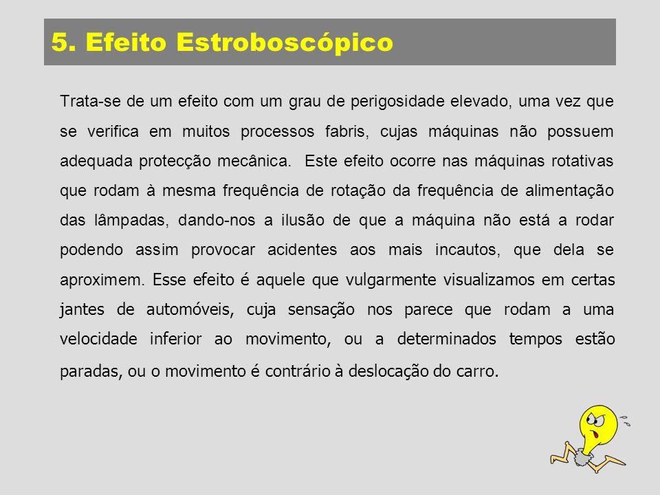 5. Efeito Estroboscópico Trata-se de um efeito com um grau de perigosidade elevado, uma vez que se verifica em muitos processos fabris, cujas máquinas