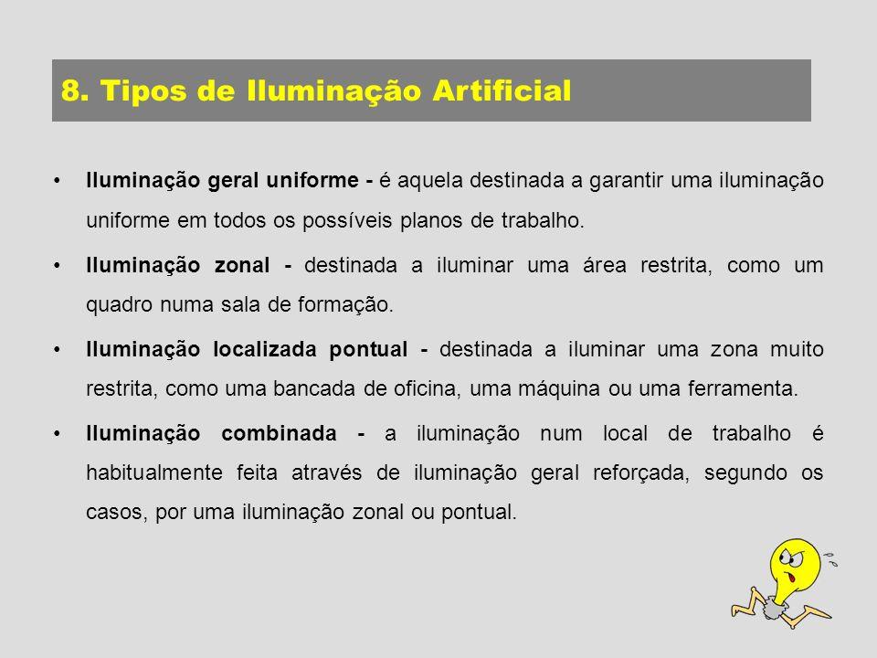 Iluminação geral uniforme - é aquela destinada a garantir uma iluminação uniforme em todos os possíveis planos de trabalho.