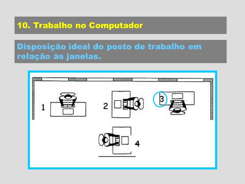 10. Trabalho no Computador Disposição ideal do posto de trabalho em relação às janelas.