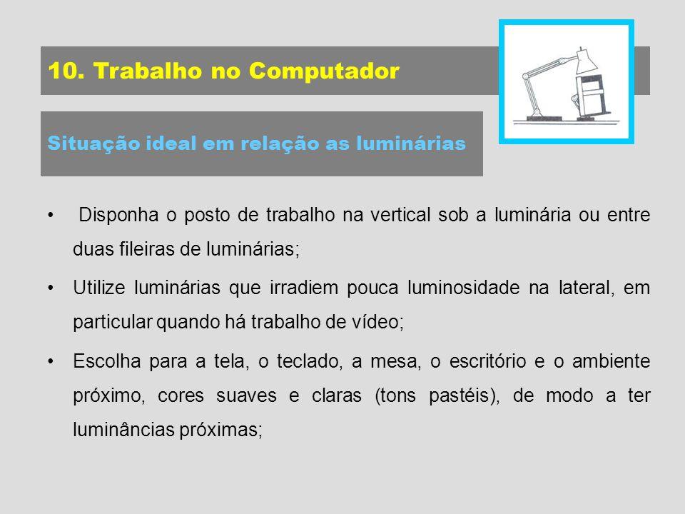 10. Trabalho no Computador Situação ideal em relação as luminárias Disponha o posto de trabalho na vertical sob a luminária ou entre duas fileiras de