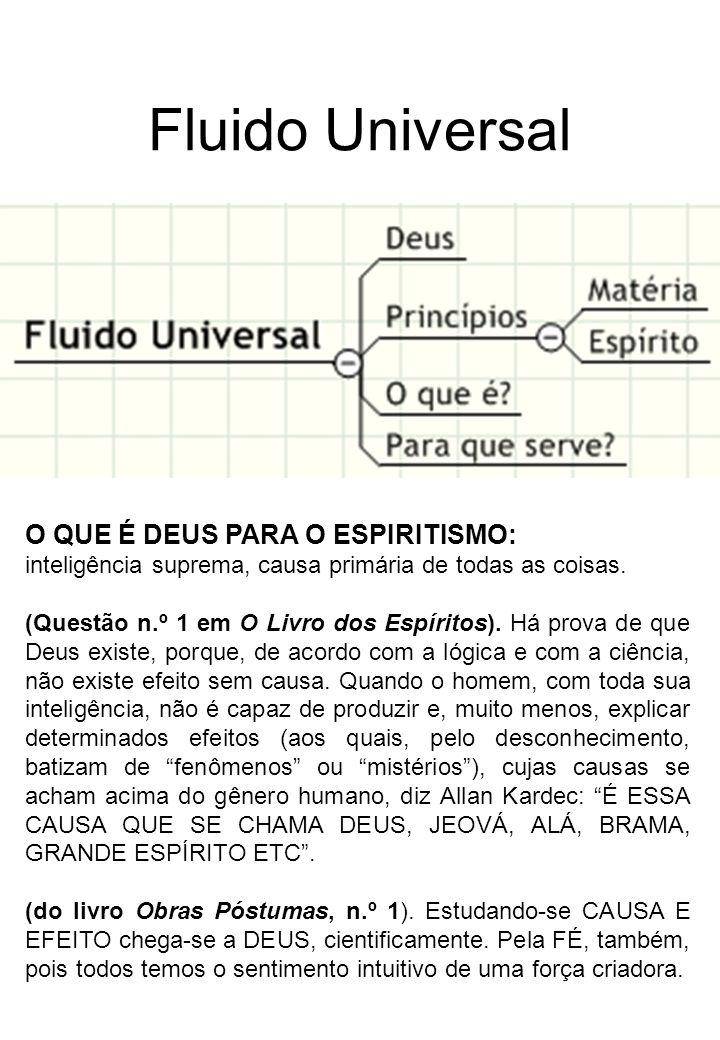 Fluido Universal O QUE É DEUS PARA O ESPIRITISMO: inteligência suprema, causa primária de todas as coisas.