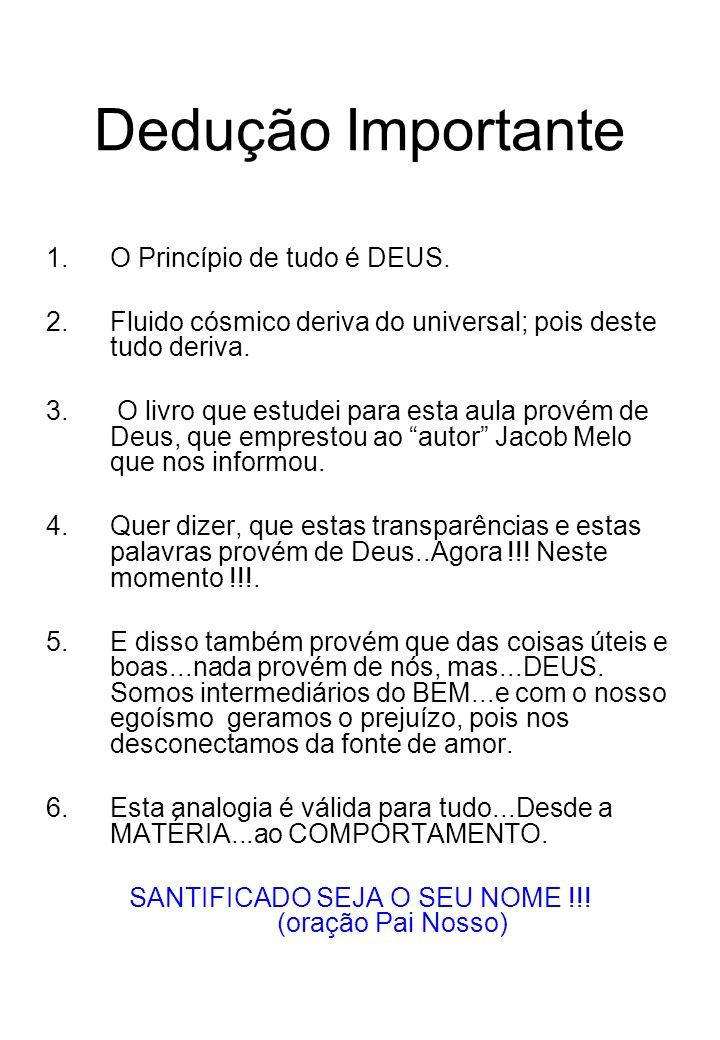 Dedução Importante 1.O Princípio de tudo é DEUS.