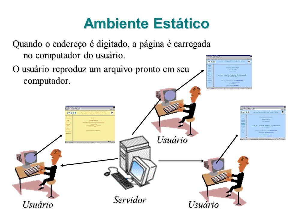 Ambiente Estático Quando o endereço é digitado, a página é carregada no computador do usuário. O usuário reproduz um arquivo pronto em seu computador.