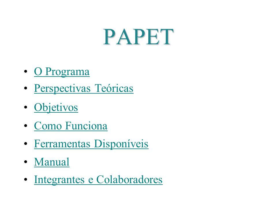 PAPET O Programa Perspectivas Teóricas Objetivos Como Funciona Ferramentas Disponíveis Manual Integrantes e Colaboradores