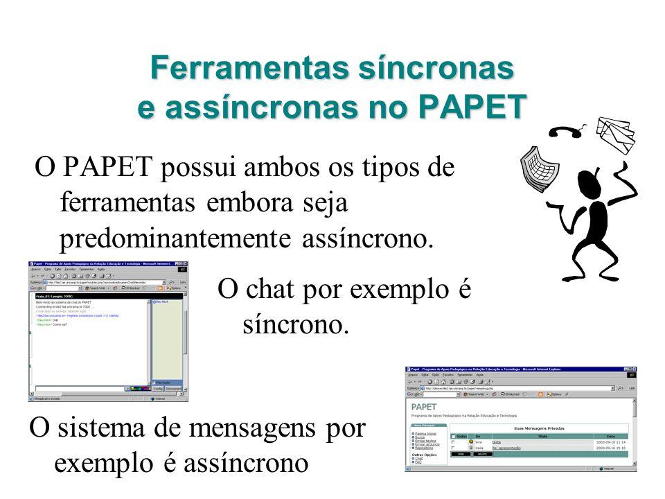 Ferramentas síncronas e assíncronas no PAPET O PAPET possui ambos os tipos de ferramentas embora seja predominantemente assíncrono. O chat por exemplo