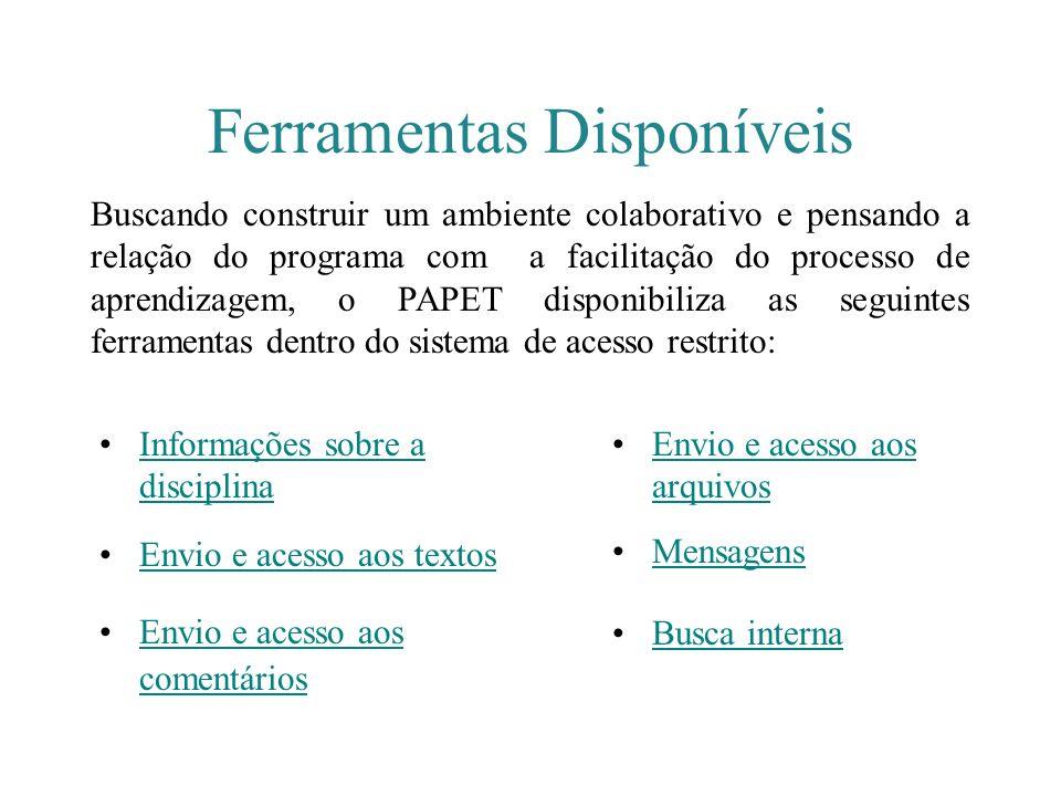 Ferramentas Disponíveis Informações sobre a disciplinaInformações sobre a disciplina Envio e acesso aos textos Envio e acesso aos comentáriosEnvio e a