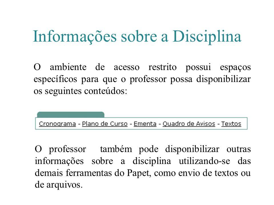 Informações sobre a Disciplina O ambiente de acesso restrito possui espaços específicos para que o professor possa disponibilizar os seguintes conteúd