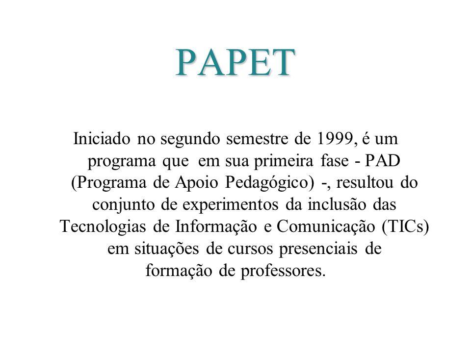 PAPET Iniciado no segundo semestre de 1999, é um programa que em sua primeira fase - PAD (Programa de Apoio Pedagógico) -, resultou do conjunto de exp