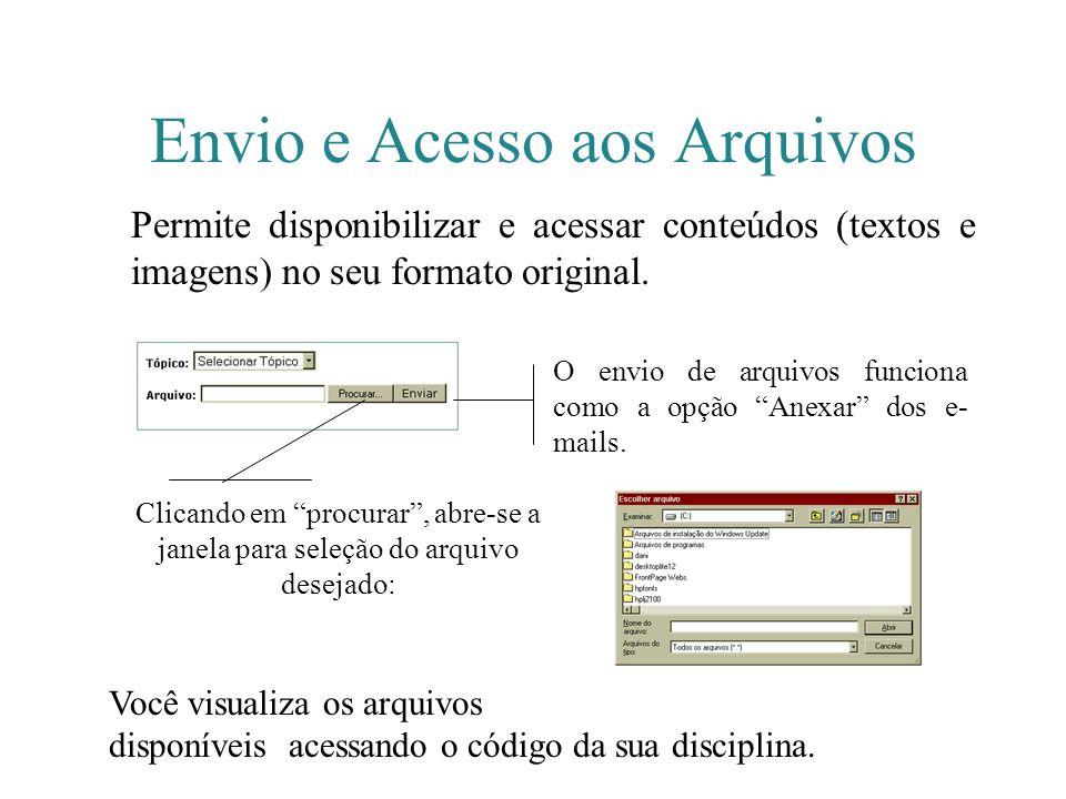 Envio e Acesso aos Arquivos Permite disponibilizar e acessar conteúdos (textos e imagens) no seu formato original. O envio de arquivos funciona como a