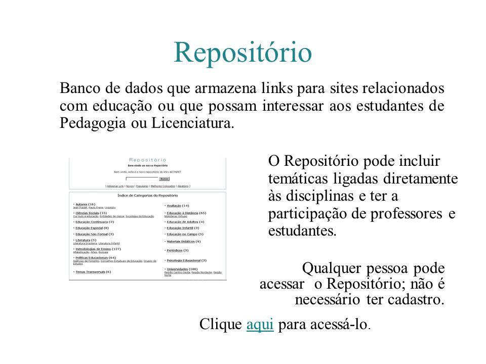 Repositório Banco de dados que armazena links para sites relacionados com educação ou que possam interessar aos estudantes de Pedagogia ou Licenciatur