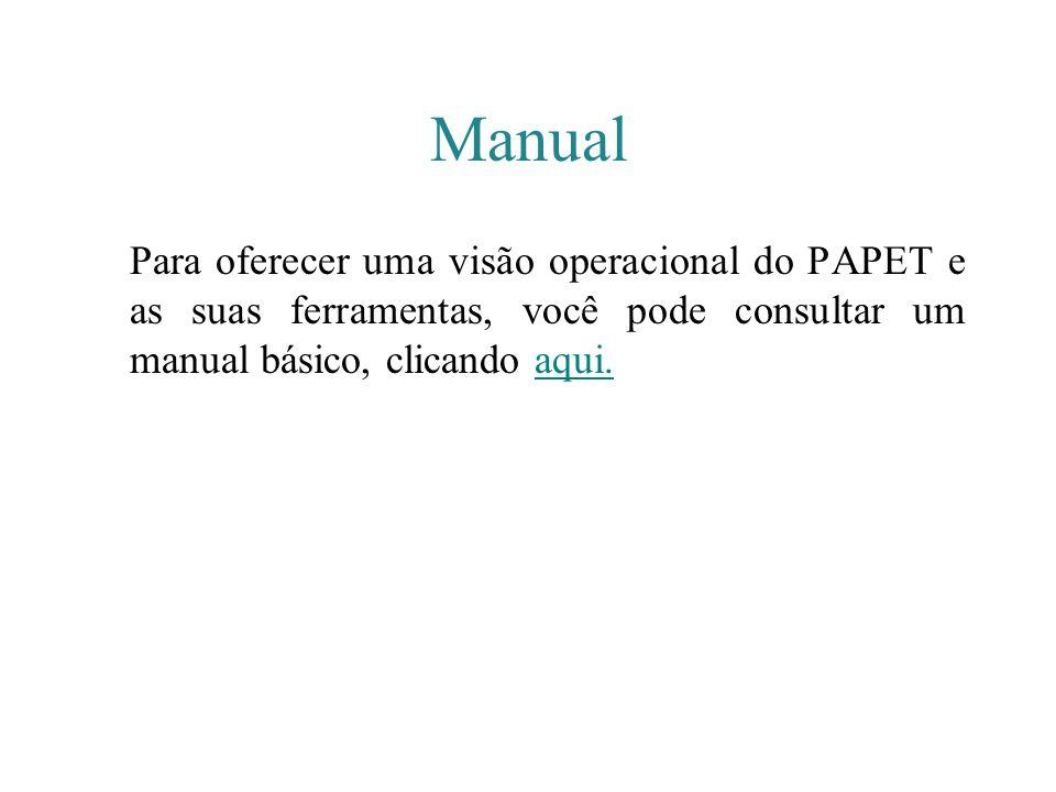 Manual Para oferecer uma visão operacional do PAPET e as suas ferramentas, você pode consultar um manual básico, clicando aqui.aqui.