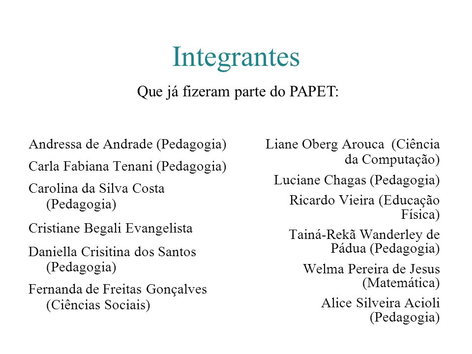 Integrantes Andressa de Andrade (Pedagogia) Carla Fabiana Tenani (Pedagogia) Carolina da Silva Costa (Pedagogia) Cristiane Begali Evangelista Daniella