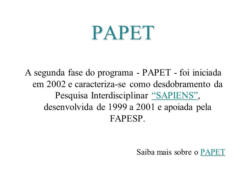 PAPET A segunda fase do programa - PAPET - foi iniciada em 2002 e caracteriza-se como desdobramento da Pesquisa Interdisciplinar SAPIENS, desenvolvida