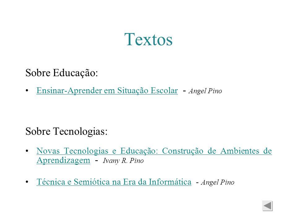 Textos Sobre Educação: Ensinar-Aprender em Situação Escolar - Angel PinoEnsinar-Aprender em Situação Escolar Sobre Tecnologias: Novas Tecnologias e Ed