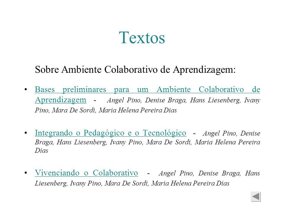 Textos Sobre Ambiente Colaborativo de Aprendizagem: Bases preliminares para um Ambiente Colaborativo de Aprendizagem - Angel Pino, Denise Braga, Hans