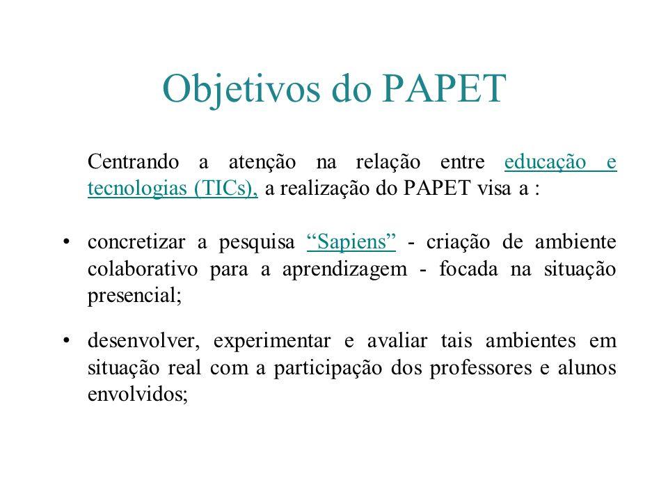 Centrando a atenção na relação entre educação e tecnologias (TICs), a realização do PAPET visa a :educação e tecnologias (TICs), concretizar a pesquis