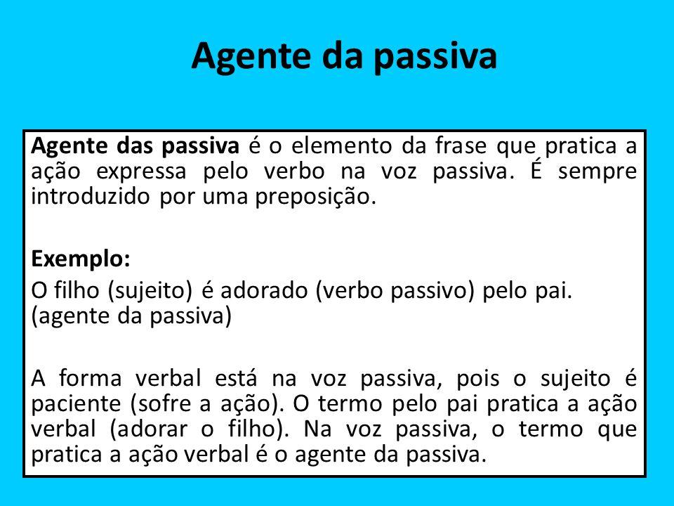 Agente da passiva Agente das passiva é o elemento da frase que pratica a ação expressa pelo verbo na voz passiva. É sempre introduzido por uma preposi