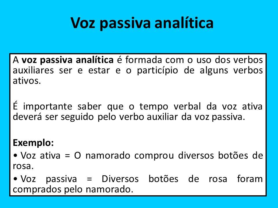 Voz passiva analítica A voz passiva analítica é formada com o uso dos verbos auxiliares ser e estar e o particípio de alguns verbos ativos. É importan