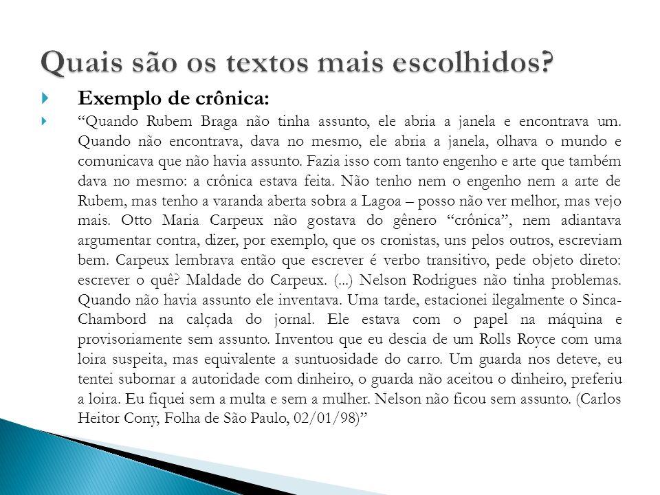 Exemplo de crônica: Quando Rubem Braga não tinha assunto, ele abria a janela e encontrava um.